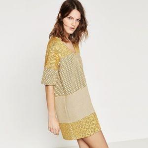 Zara W/B Collection Mustard Yellow Shift Dress